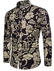 cheap -Men's Daily Vintage Shirt - Floral Black / Long Sleeve
