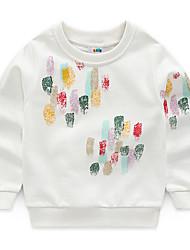 Недорогие -малыш Мальчики Активный Геометрический принт Длинный рукав Хлопок Худи / толстовка Белый