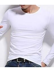 abordables -Tee-shirt Homme, Couleur Pleine Basique Col Arrondi Gris / Manches Longues
