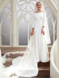 cheap -A-Line Wedding Dresses Bateau Neck Chapel Train Satin 3/4 Length Sleeve Elegant with 2021