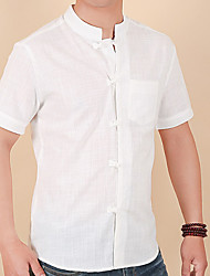 cheap -Men's Daily Chinoiserie Cotton / Linen Shirt - Solid Colored Black / Short Sleeve