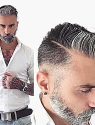 cheap -Men's Human Hair Toupees Wavy Monofilament Soft / Dark Gray