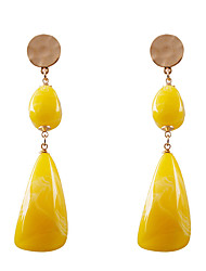 cheap -Women's Drop Earrings Hanging Earrings Long Mood Ladies Fashion Resin Earrings Jewelry Yellow / Red / Green For Gift Daily 1 Pair