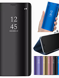 cheap -Phone Case For Samsung Galaxy Full Body Case Leather A6 (2018) A6+ (2018) A3 A5 A7(2017) A8 2018 A8+ 2018 with Stand Mirror Solid Color Hard PU Leather