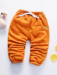 cheap -Baby Girls' Active Daily Black & Red Solid Colored / Geometric Pleated Long Sleeve Linen Pants Orange / Toddler
