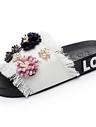 cheap -Women's Slippers & Flip-Flops Flat Heel Open Toe Pearl / Satin Flower Denim Comfort Summer Black / Blue / Pink
