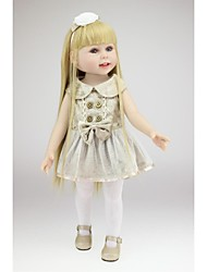 cheap -NPKCOLLECTION NPK DOLL Fashion Doll Country Girl 18 inch Full Body Silicone Vinyl - Gift Hand Made Artificial Implantation Blue Eyes Kid's Girls' Toy Gift