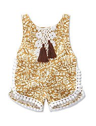 cheap -Baby Girls' Vintage / Boho Daily / Holiday Floral / Print / Jacquard Embroidered / Print Sleeveless Romper Yellow / Toddler