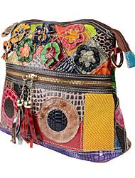 cheap -Women's Bags Cowhide Shoulder Messenger Bag Tassel Vintage Daily Office & Career Retro Handbags MessengerBag Rainbow