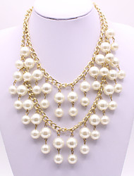 cheap -Women's Pearl Layered Necklace Pearl Necklace Layered Artistic Elegant Imitation Pearl White 47+5 cm Necklace Jewelry 1pc For Wedding Engagement Gift