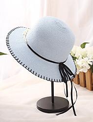 Недорогие -Жен. Классический Праздник Соломенная шляпа Солома,Контрастных цветов Лето Белый Розовый Коричневый