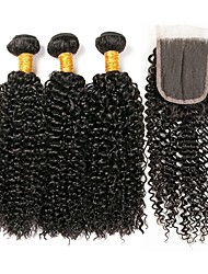 cheap -3 Bundles with Closure Peruvian Hair Kinky Curly Human Hair Unprocessed Human Hair Natural Color Hair Weaves / Hair Bulk Bundle Hair One Pack Solution 8-20 inch Natural Color Human Hair Weaves New