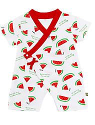 cheap -Baby Girls' Active Daily Print Printing Short Sleeves Cotton Romper Red / Toddler