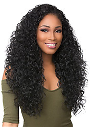 cheap -Virgin Human Hair Lace Front Wig Deep Parting Rihanna style Brazilian Hair Curly Black Wig 130% 150% 180% Density with Baby Hair Women Women's Long Human Hair Lace Wig