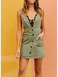 cheap -Women's Daily Weekend Mini Slim Sheath Dress Deep V Green S M L XL