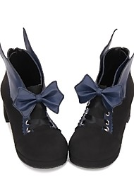 cheap -Women's Lolita Shoes Princess Lolita Wedge Heel Shoes Color Block 5 cm Black Brown Ink Blue PU(Polyurethane) Halloween Costumes