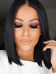 Недорогие -Натуральные волосы Лента спереди Парик Стрижка боб Средняя часть Свободная часть Kardashian стиль Бразильские волосы Прямой Природа Черный Парик 130% Плотность волос 10-16 дюймовый / Природные волосы