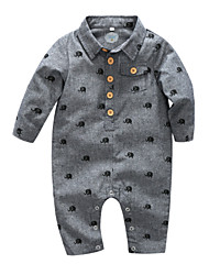 cheap -Baby Boys' Basic Daily Print Animal Pattern Long Sleeve Cotton Romper Blue