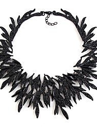 cheap -Women's Crystal Choker Necklace Leaf Ladies Vintage Ethnic Oversized Alloy Gold Black Silver 35 cm Necklace Jewelry 1pc For Party / Evening Daily Cosplay Costumes