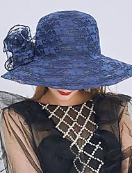 Недорогие -Жен. Активный Праздник Соломенная шляпа-Оборки Солома Кружева,Однотонный Лето Серый Пурпурный Хаки