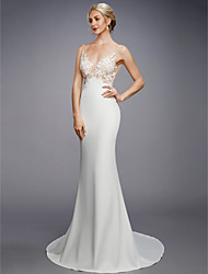 cheap -Mermaid / Trumpet V Neck Court Train Lace / Knit Regular Straps Sexy Backless Wedding Dresses with Appliques 2020