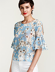 cheap -Women's Daily Going out Street chic Loose Blouse - Floral Basic Blue / Spring / Summer