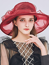 cheap -Women's Kentucky Derby Party Holiday Lace Bucket Hat Floppy Hat Straw Hat-Patchwork Ruffle All Seasons Gray Purple Wine