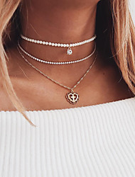 cheap -Women's Choker Necklace Pendant Necklace Cross Heart Ladies Elegant Fashion Multi Layer Imitation Pearl Alloy Gold 30 cm Necklace Jewelry 3pcs For Wedding Gift Engagement / Chain Necklace