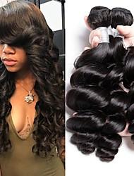cheap -3 Bundles Brazilian Hair Wavy Human Hair Natural Color Hair Weaves / Hair Bulk Human Hair Extensions 8-28 inch Natural Color Human Hair Weaves Fashionable Design Best Quality New Arrival Human Hair