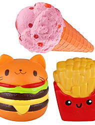 cheap -Squishy Squishies Squishy Toy Squeeze Toy / Sensory Toy Jumbo Squishies Stress Reliever Food Ice Cream Hamburger French Fries Soft Slow Rising PU For Kid's Adults' Boys' Girls' Gift Party Favor 3 pcs