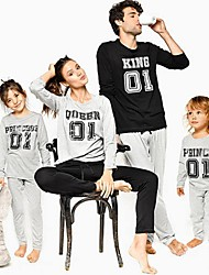 cheap -Kids Family Look Basic Sports Weekend Solid Colored Letter Print Long Sleeve Regular Regular Clothing Set Gray
