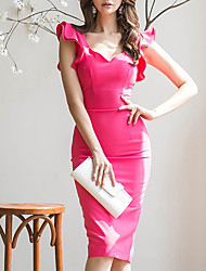 cheap -Women's Daily Skinny Bodycon Dress - Solid Colored V Neck Fuchsia M L XL