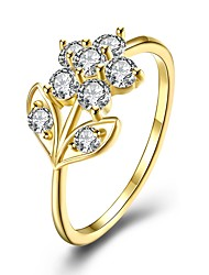 cheap -Women's Band Ring Cubic Zirconia 1pc Gold White Gold Plated Geometric Ladies Fashion Gift Daily Jewelry Flower Lovely
