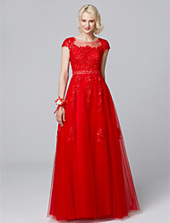 cheap -A-Line Illusion Neck Floor Length Lace / Tulle Bridesmaid Dress with Beading / Appliques