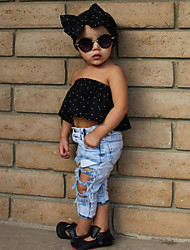 cheap -Toddler Girls' Active Basic Holiday Going out Polka Dot Bow Ripped Sleeveless Short Clothing Set Black