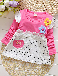 cheap -Baby Girls' Active Daily / Going out Polka Dot Long Sleeve 50-60 cm Cotton Dress Yellow / Toddler