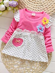 abordables -bébé Fille Actif Quotidien / Sortie Points Polka Manches Longues 50-60 cm Coton Robe Jaune / Bébé