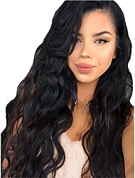 cheap -Synthetic Wig Synthetic Lace Front Wig Curly Layered Haircut Lace Front Wig Long Black#1B Dark Brown Synthetic Hair Women's with Baby Hair Soft Heat Resistant Black Modernfairy Hair