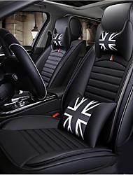 Недорогие -5 сидений с двумя подголовниками, двумя подушками на талию и одним рулевым колесом. Универсальный черный автомобильный чехол на четыре сезона / искусственная кожа / регулируемый и съемный.