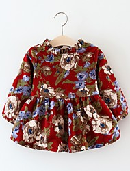abordables -bébé Fille Chinoiserie Géométrique Manches Longues Coton Robe Rouge / Bébé