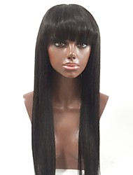 cheap -Remy Human Hair Full Lace Wig Layered Haircut With Bangs style Brazilian Hair Straight Black Wig 130% Density with Baby Hair Natural Hairline Women's Long Human Hair Lace Wig