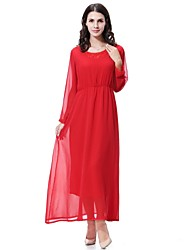 cheap -Women's Midi Maternity Red Camel Dress Spring Daily Going out Chiffon Swing Solid Colored M L