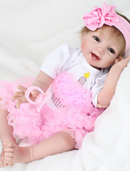 cheap -NPK DOLL Reborn Doll Girl Doll Baby Girl 22 inch lifelike Hand Made Child Safe Non Toxic Tipped and Sealed Nails Natural Skin Tone Kid's Girls' Toy Gift / Artificial Implantation Brown Eyes