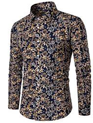 cheap -Men's Plus Size Polka Dot Shirt Business Going out Blue / Long Sleeve