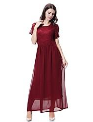 cheap -Women's Maternity Daily Holiday Midi Chiffon Abaya Jalabiya Dress - Solid Colored Lace Spring Yellow Wine Light Blue L XL XXL