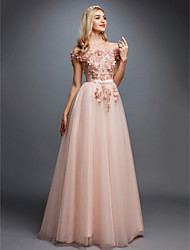 cheap -A-Line Floral Pink Prom Formal Evening Dress Off Shoulder Sleeveless Sweep / Brush Train Tulle Over Lace with Appliques 2020