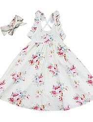 cheap -Kids Girls' Active / Boho Daily / Going out Floral Print Sleeveless Knee-length Cotton / Acrylic Dress Pink 2-3 Years(100cm)