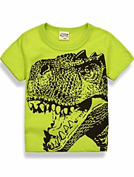 cheap -Kids Boys' Basic Daily Solid Colored Geometric Print Short Sleeve Regular Cotton Blouse Green