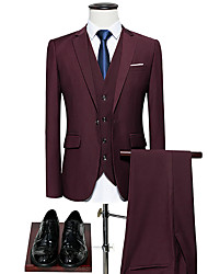 cheap -Blue / Burgundy Solid Colored Standard Fit Polyester Suit - Notch Single Breasted One-button / Suits