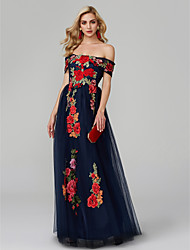 cheap -A-Line Floral Blue Prom Formal Evening Dress Off Shoulder Sleeveless Floor Length Lace Over Tulle with Embroidery Appliques 2020